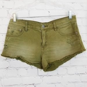 Free People|Army Green Fray Hem Cutoff Shorts